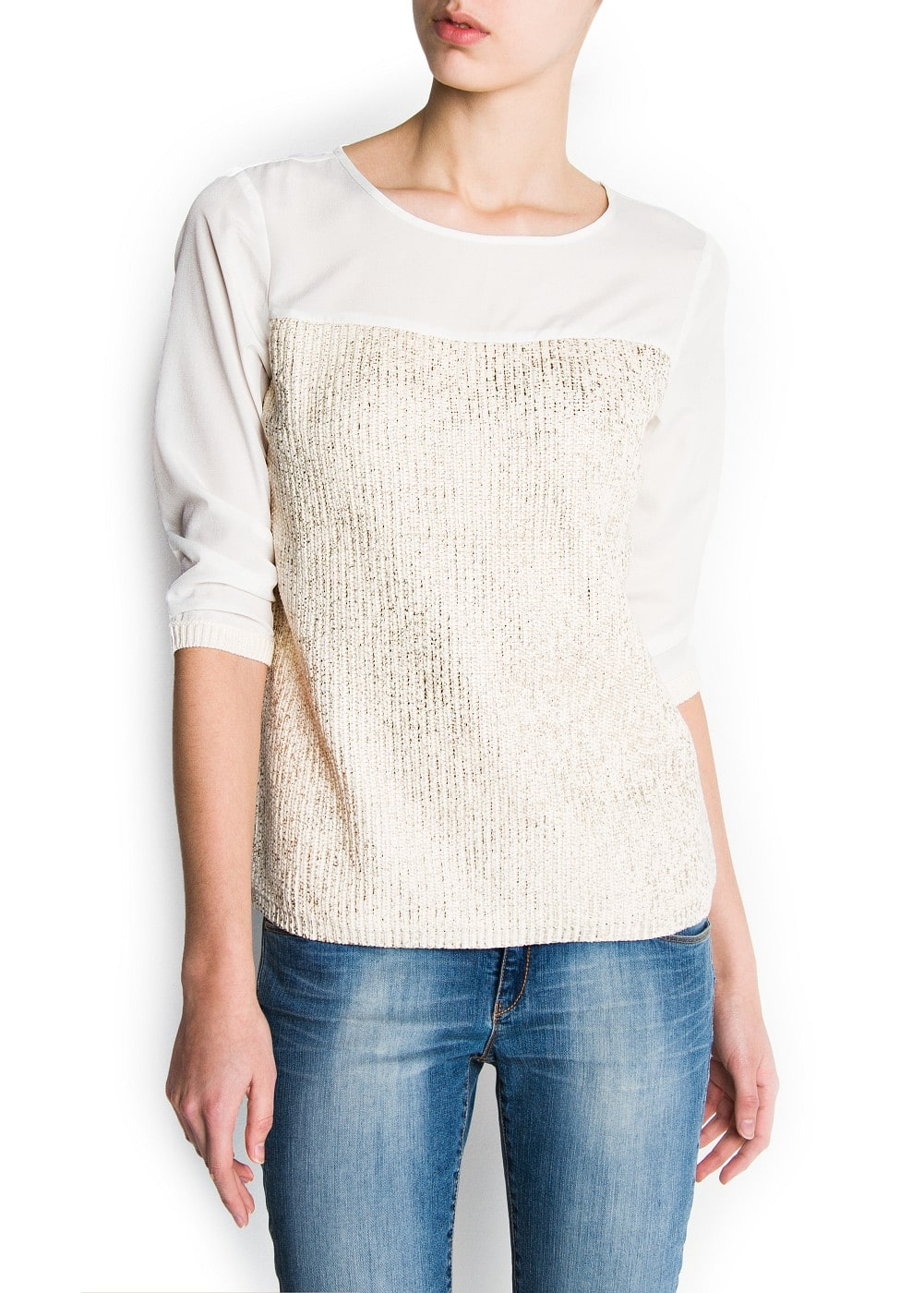 Metallic knit panel jumper | MANGO