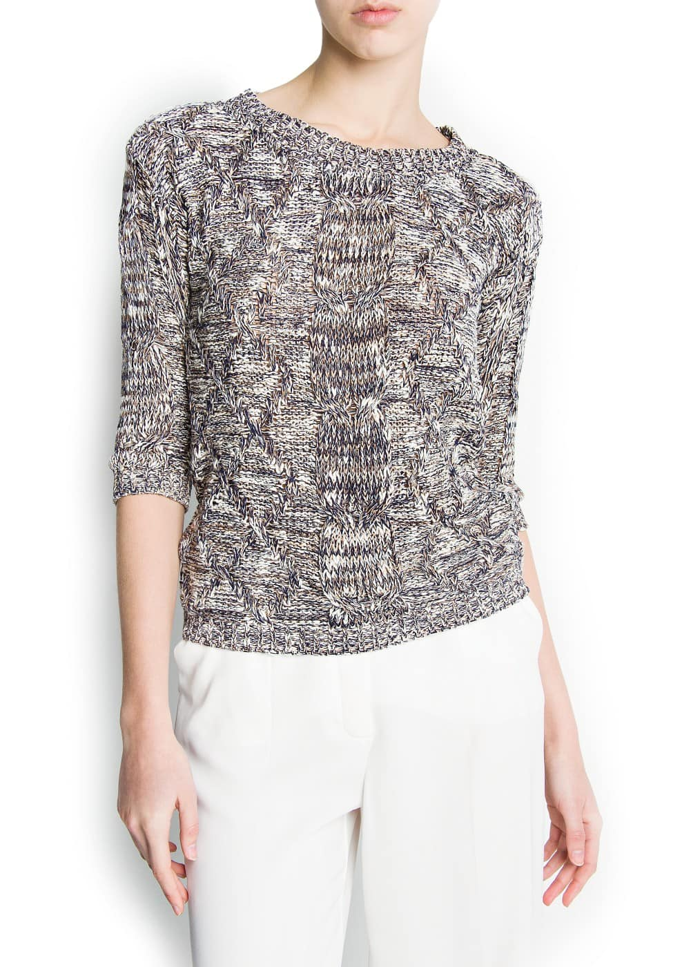 Cable-knit flecked jumper | MANGO