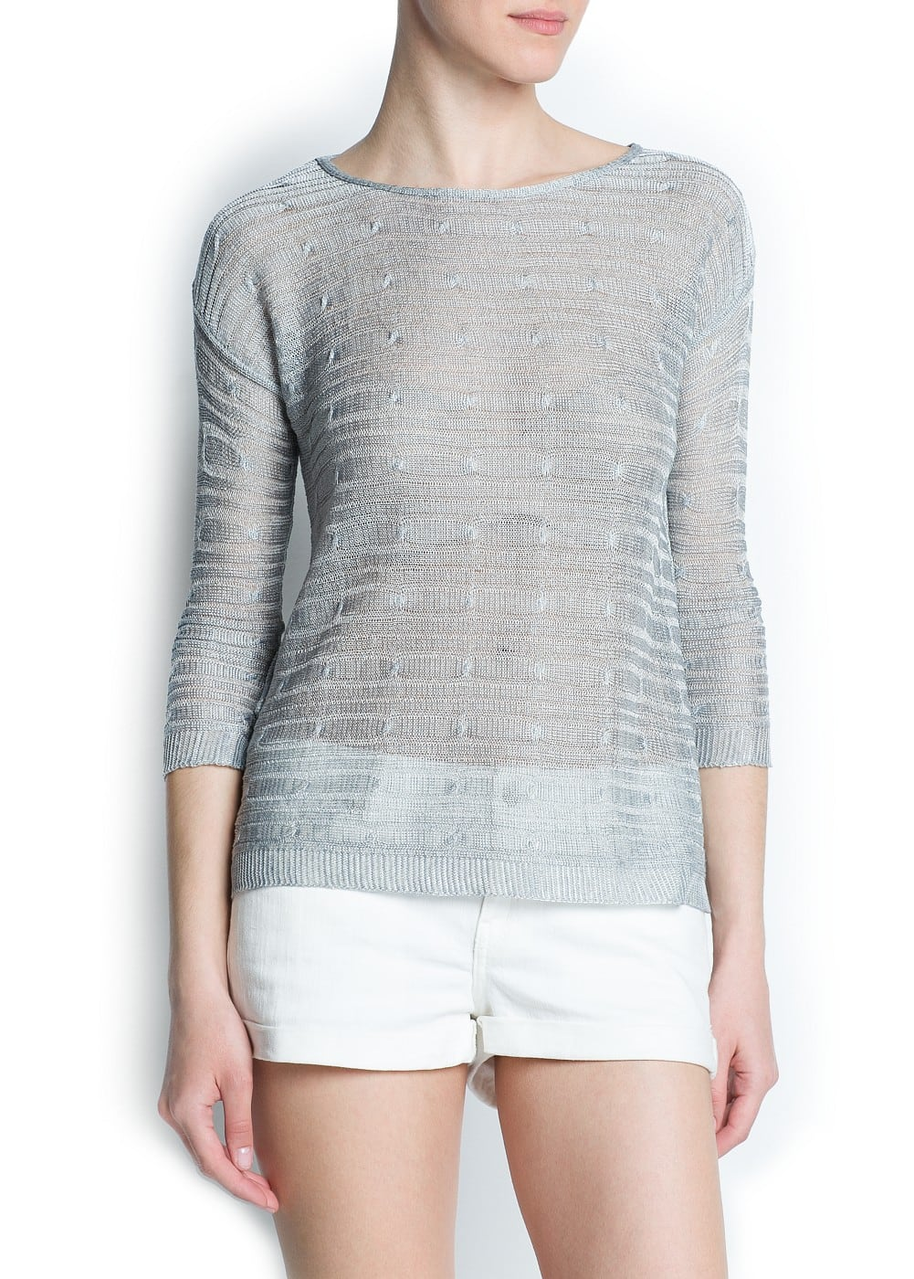 Cable knit metallic sweater | MANGO