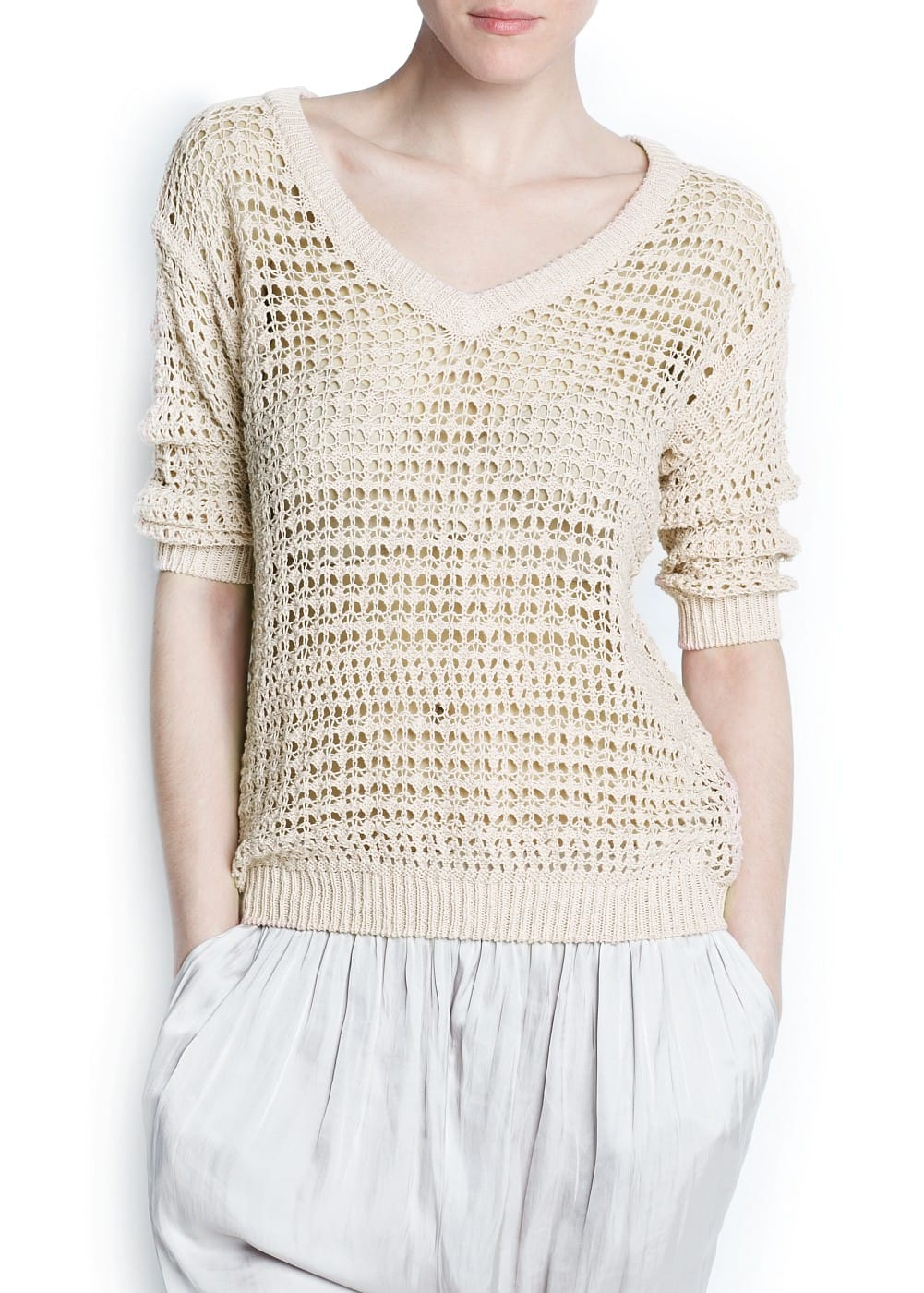 Open knit cotton jumper | MANGO