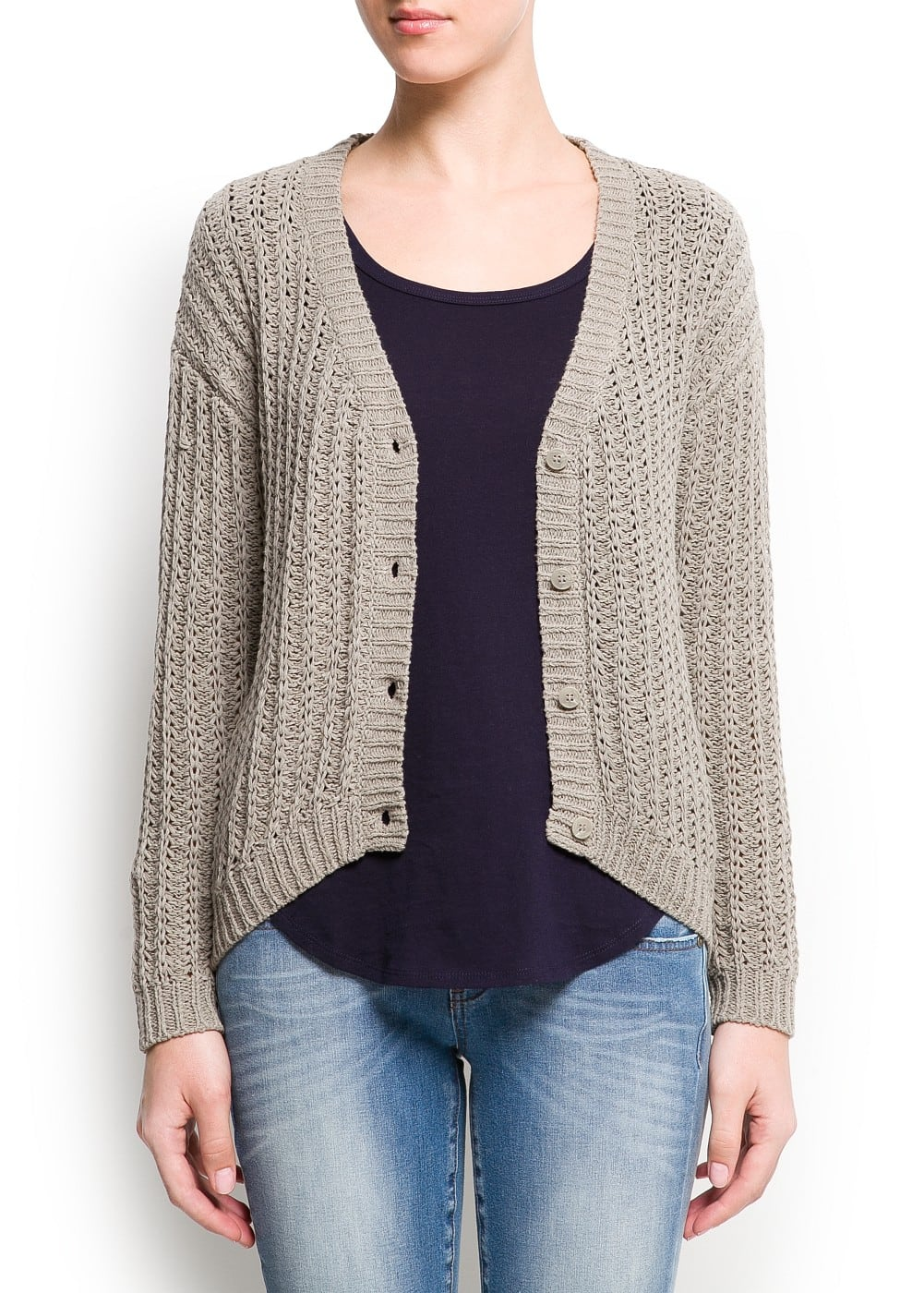 Ribbed knit cardigan | MANGO