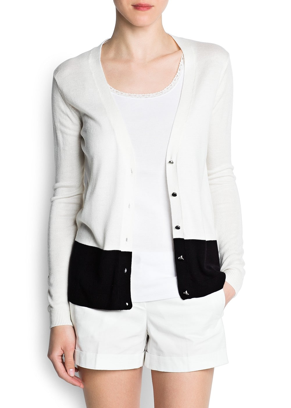 Two-tone cardigan | MANGO