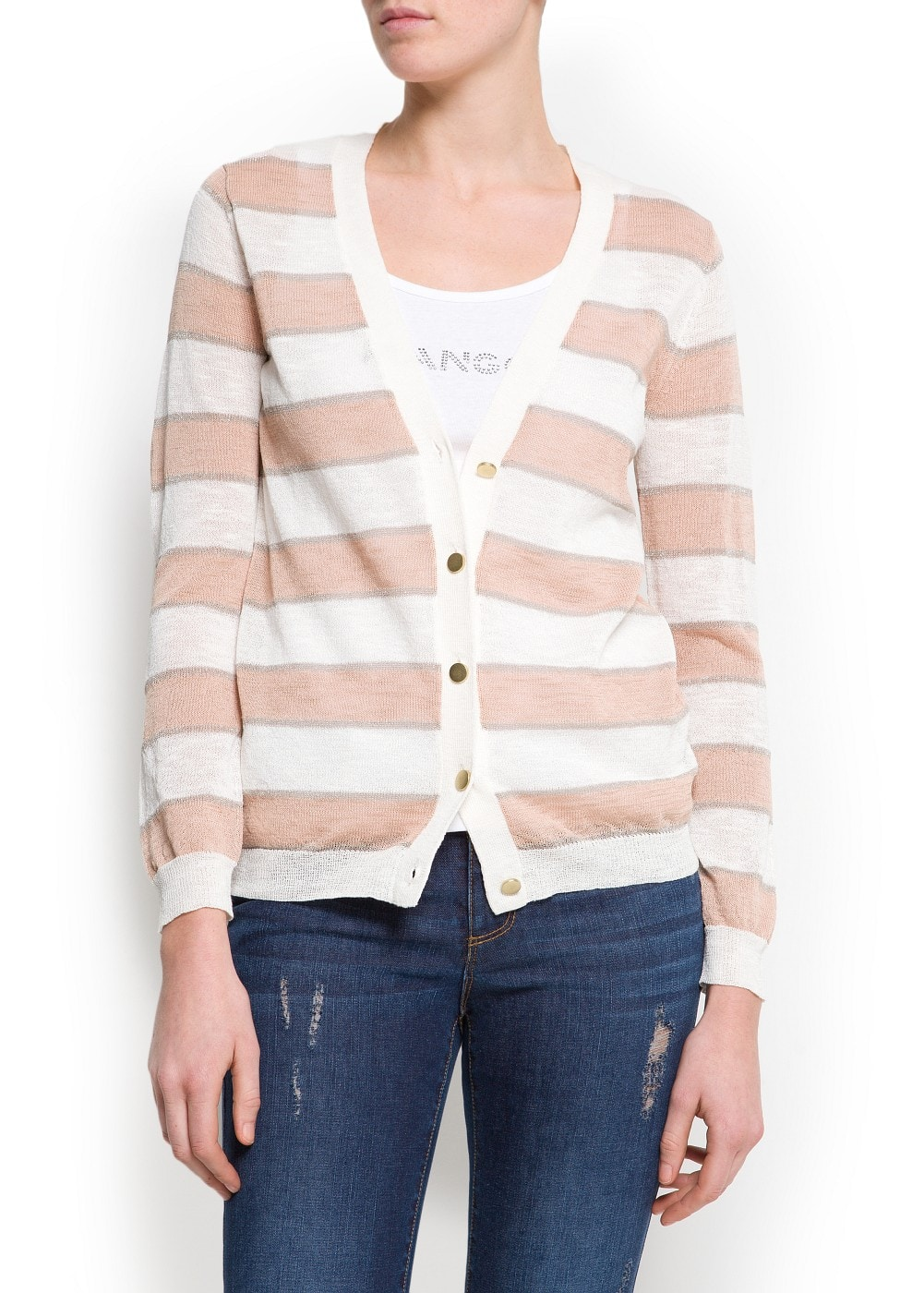 Metallic stripes cardigan | MANGO