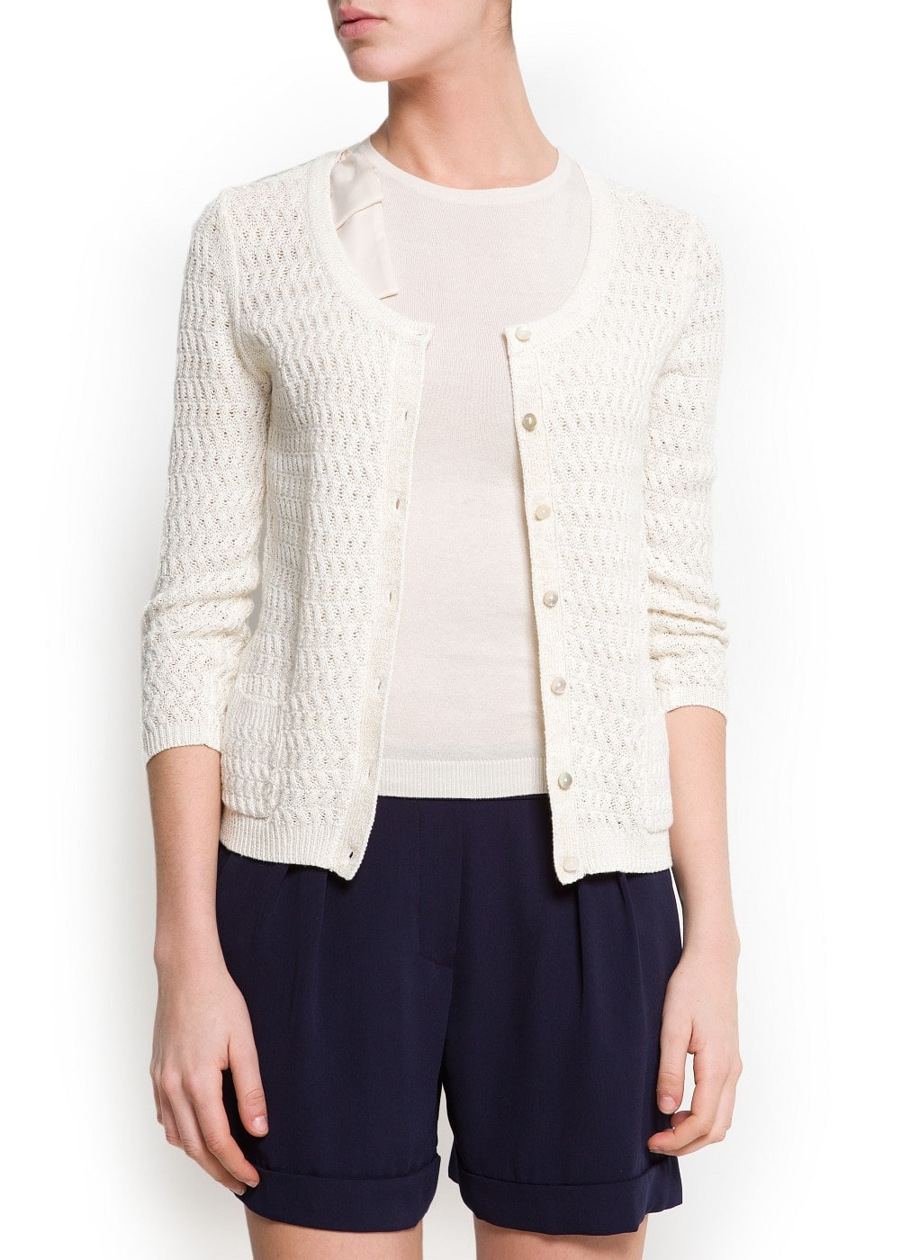 Textured knit cardigan | MANGO