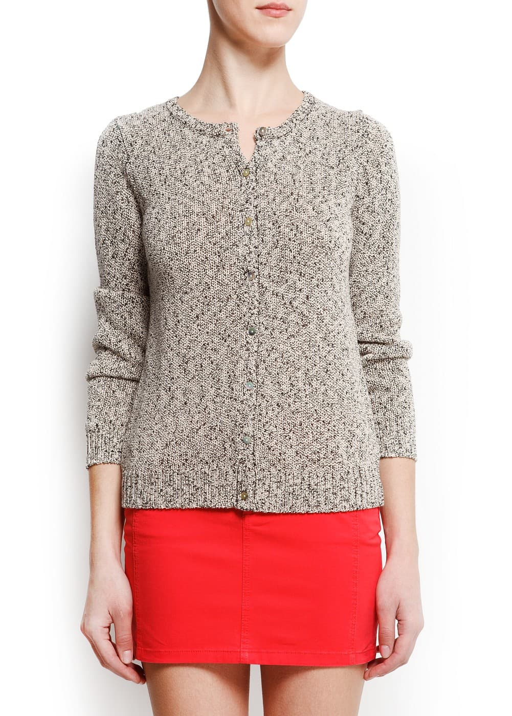 Flecked knit cardigan | MANGO