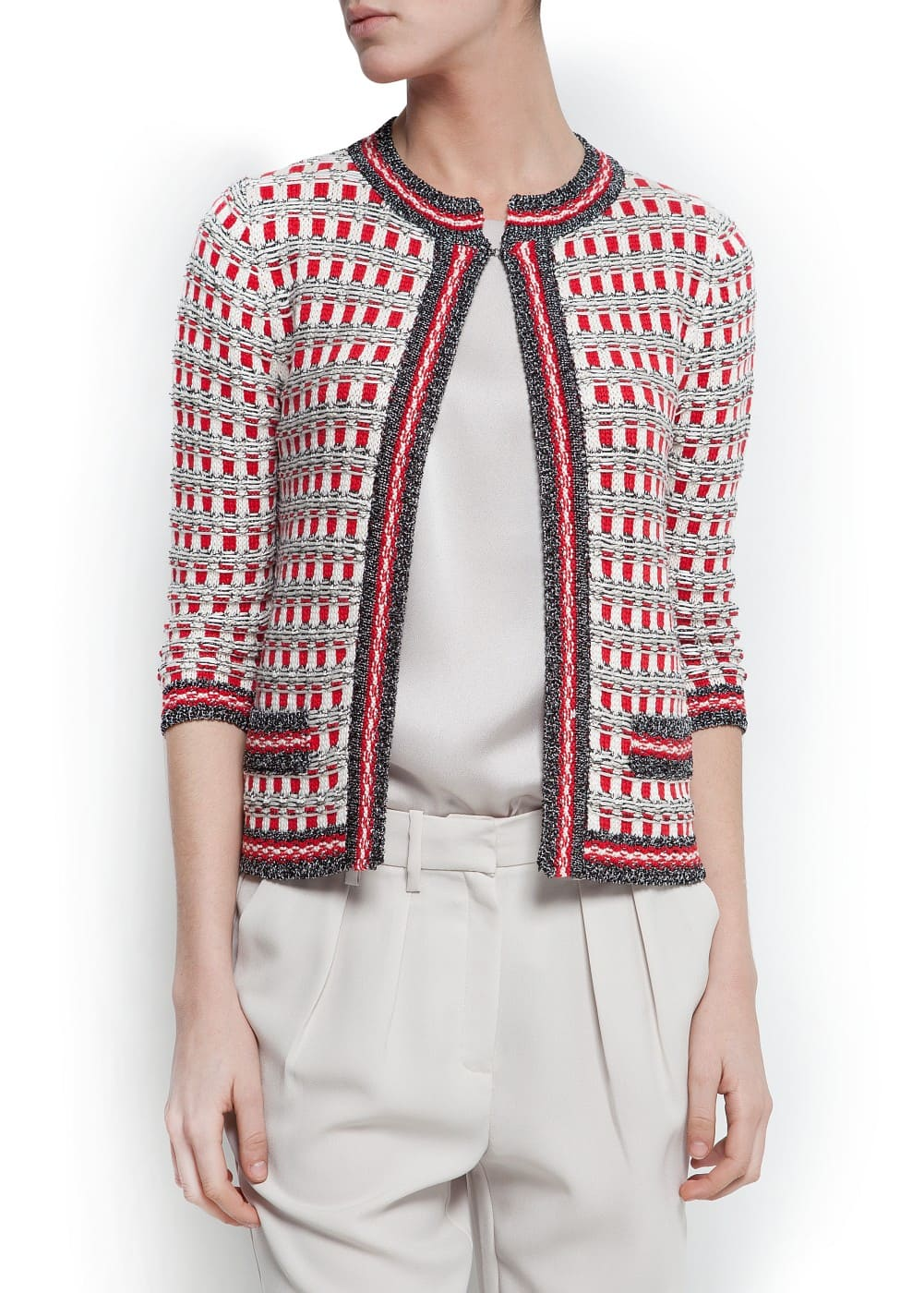 Checked knit cardigan | MANGO