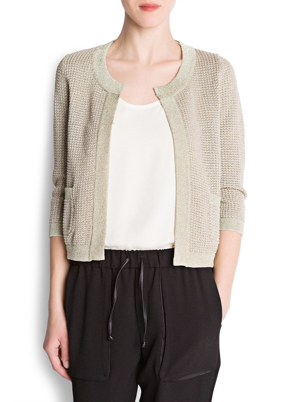 Metallic knit cardigan | MANGO