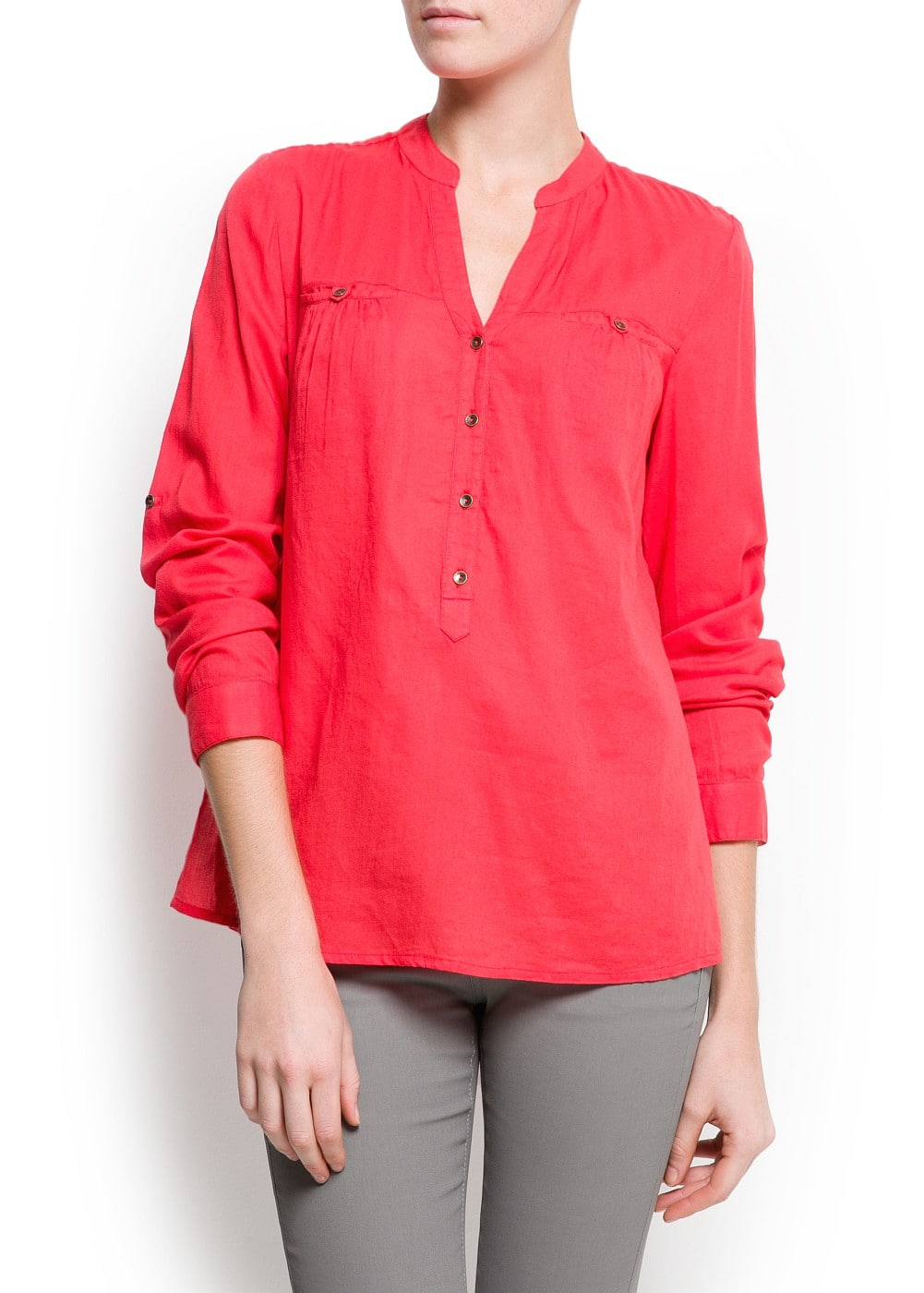 Cotton loose-fit blouse | MANGO