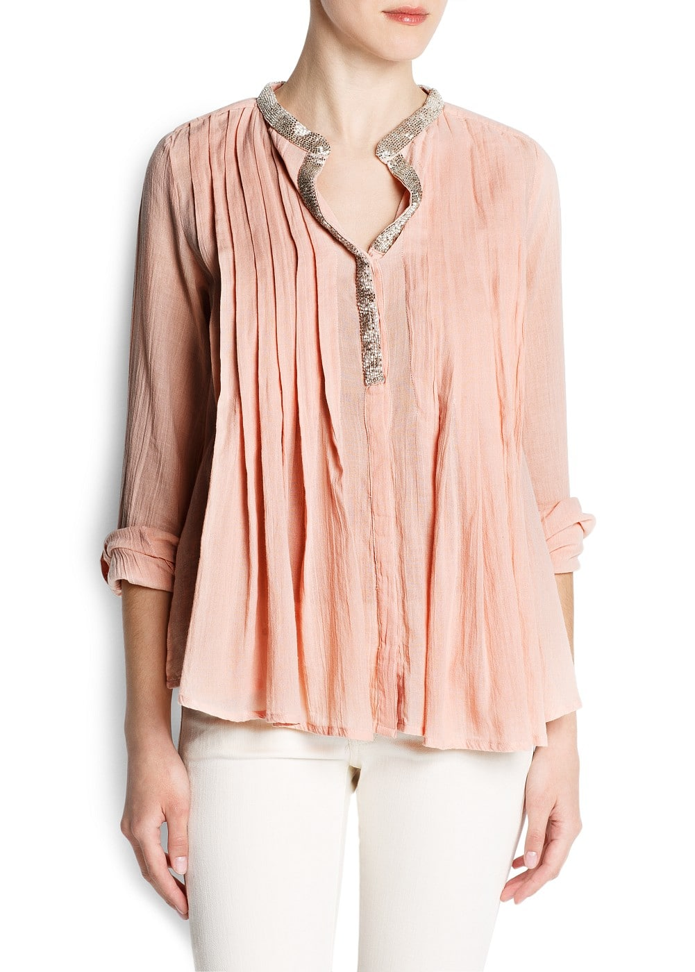 Beaded cotton blouse | MANGO