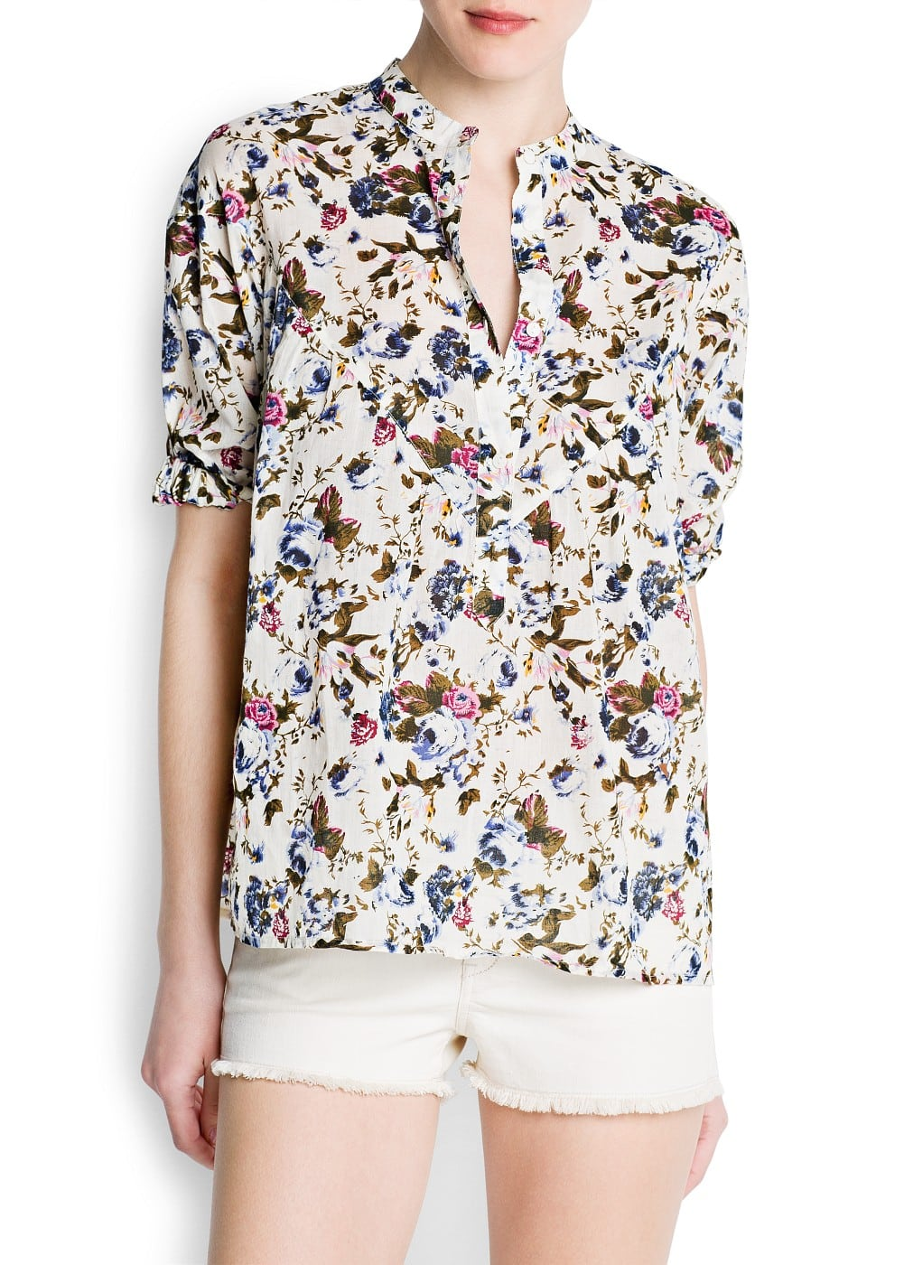 Floral print cotton blouse | MANGO