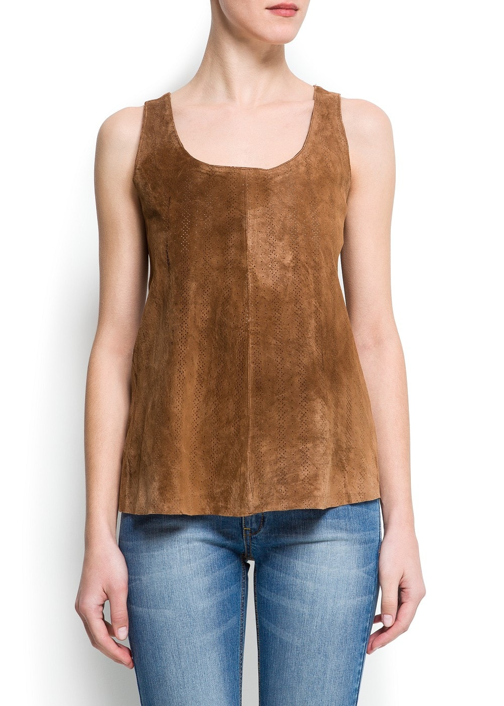 Perforated suede top | MANGO