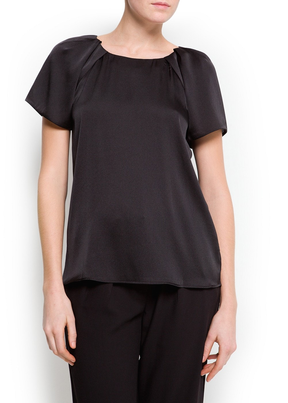 Pleated satin blouse | MANGO