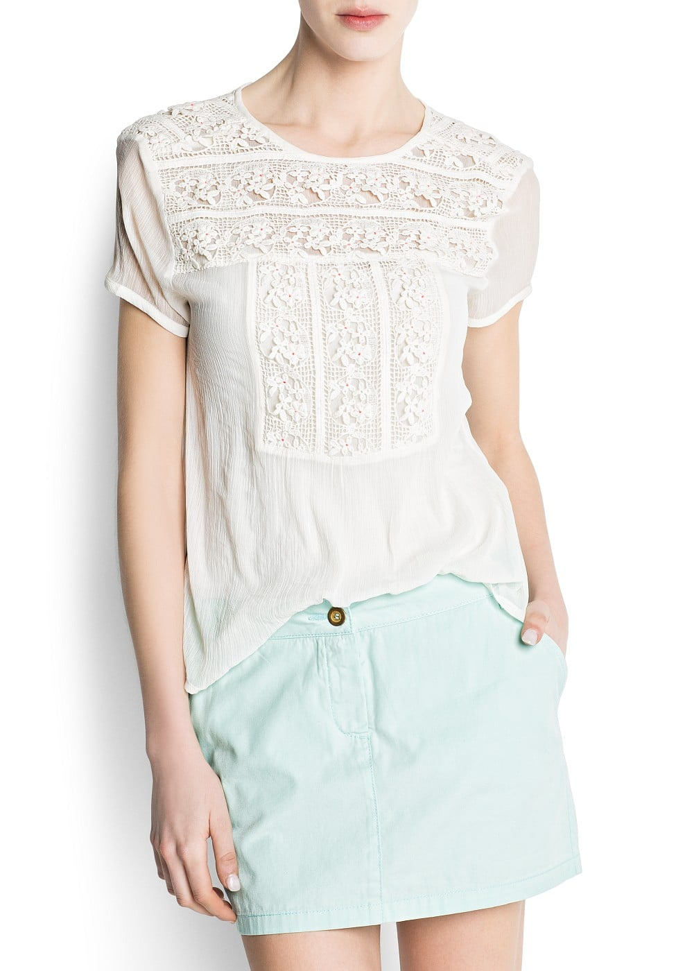 Spotted guipure blouse | MANGO