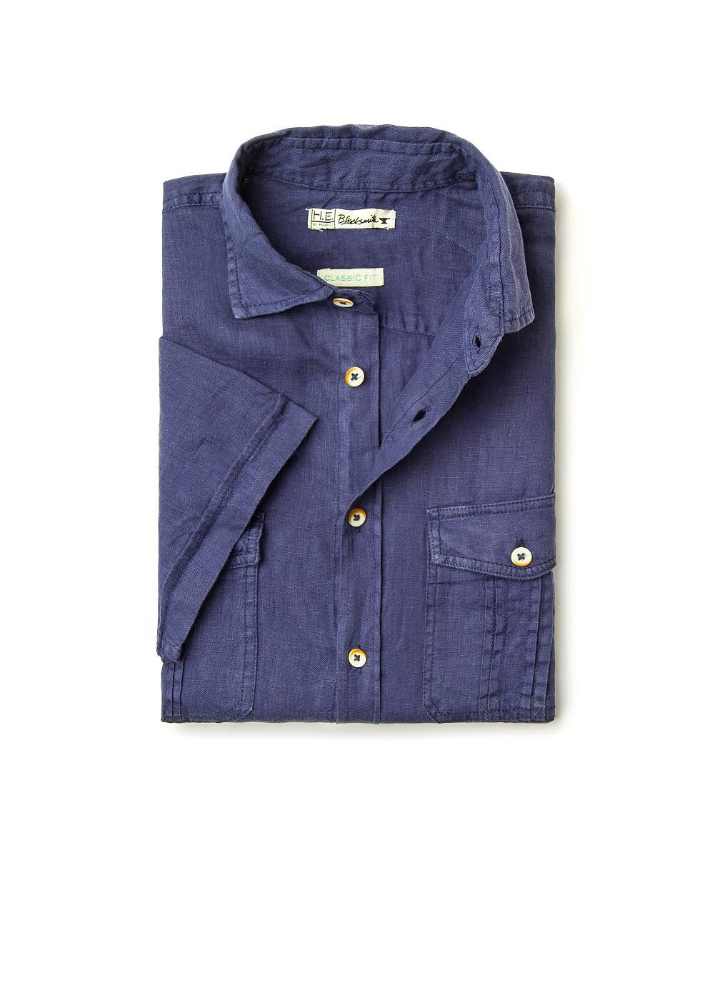 Linen straight-fit shirt | MANGO MAN