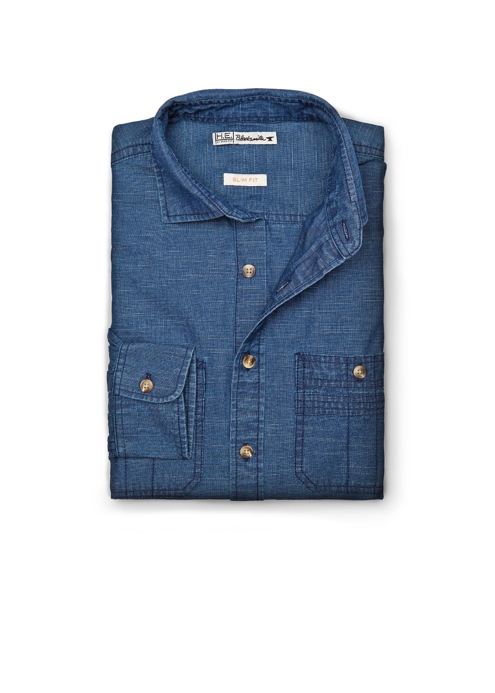 Slim-fit washed denim shirt | MANGO MAN