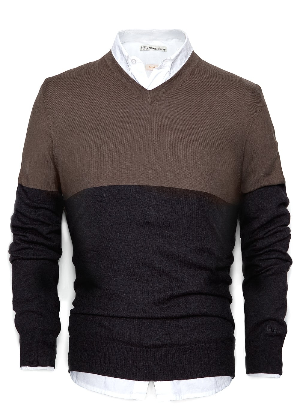 Two-tone cashmere cotton-blend sweater | MANGO MAN