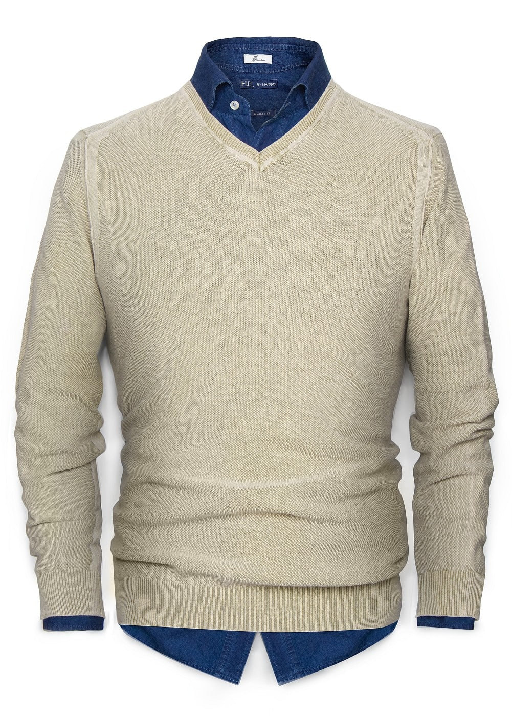 Stone-washed v-neck pullover | MANGO MAN