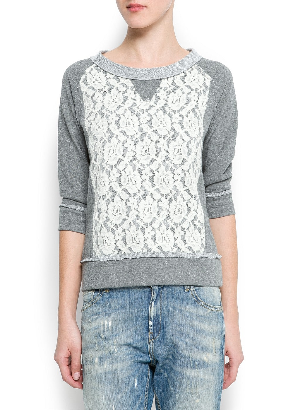 Lace panel sweatshirt | MANGO