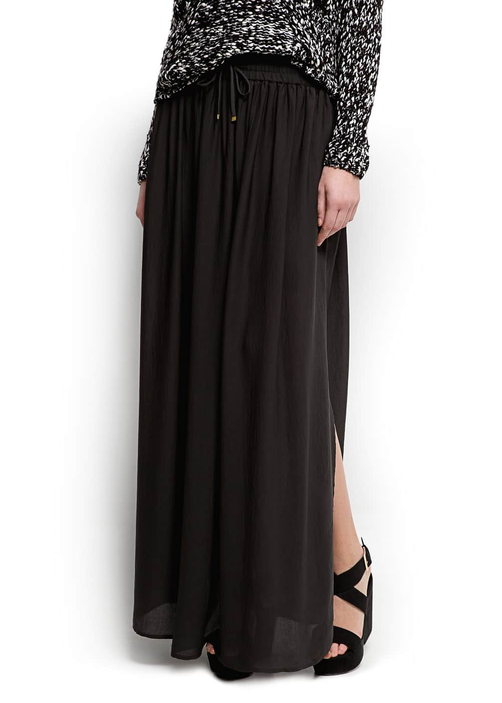 Slits sheer maxi skirt | MANGO