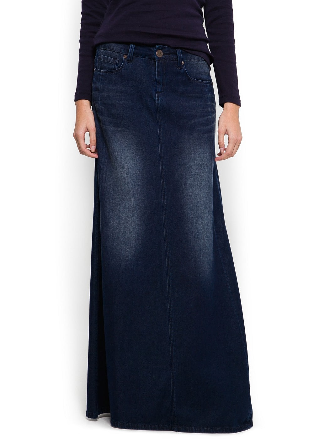 Strass denim long skirt | MANGO