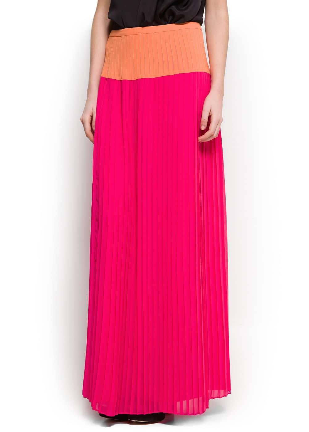 Two-tone long skirt | MANGO