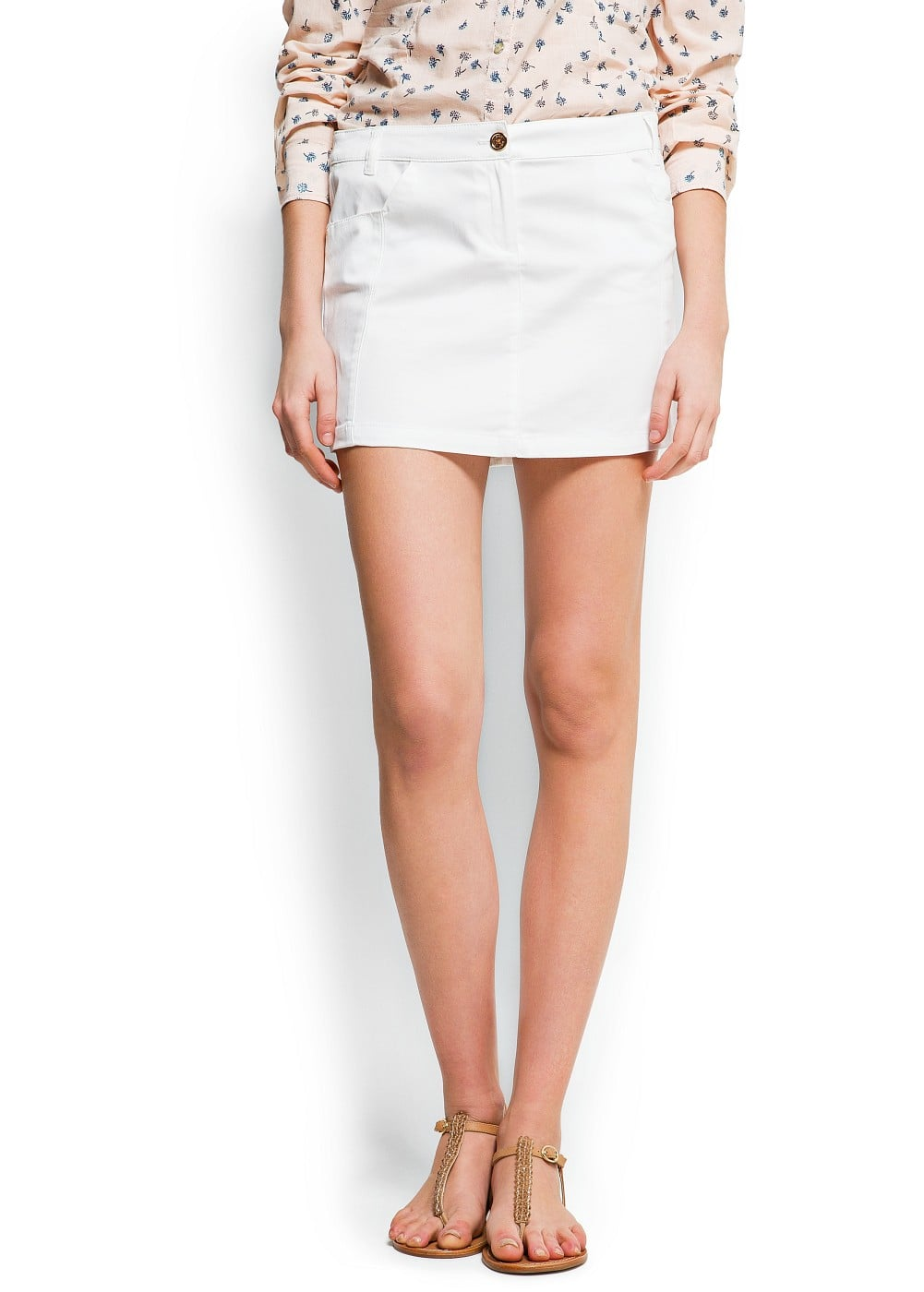 Decorative stitching miniskirt | MANGO