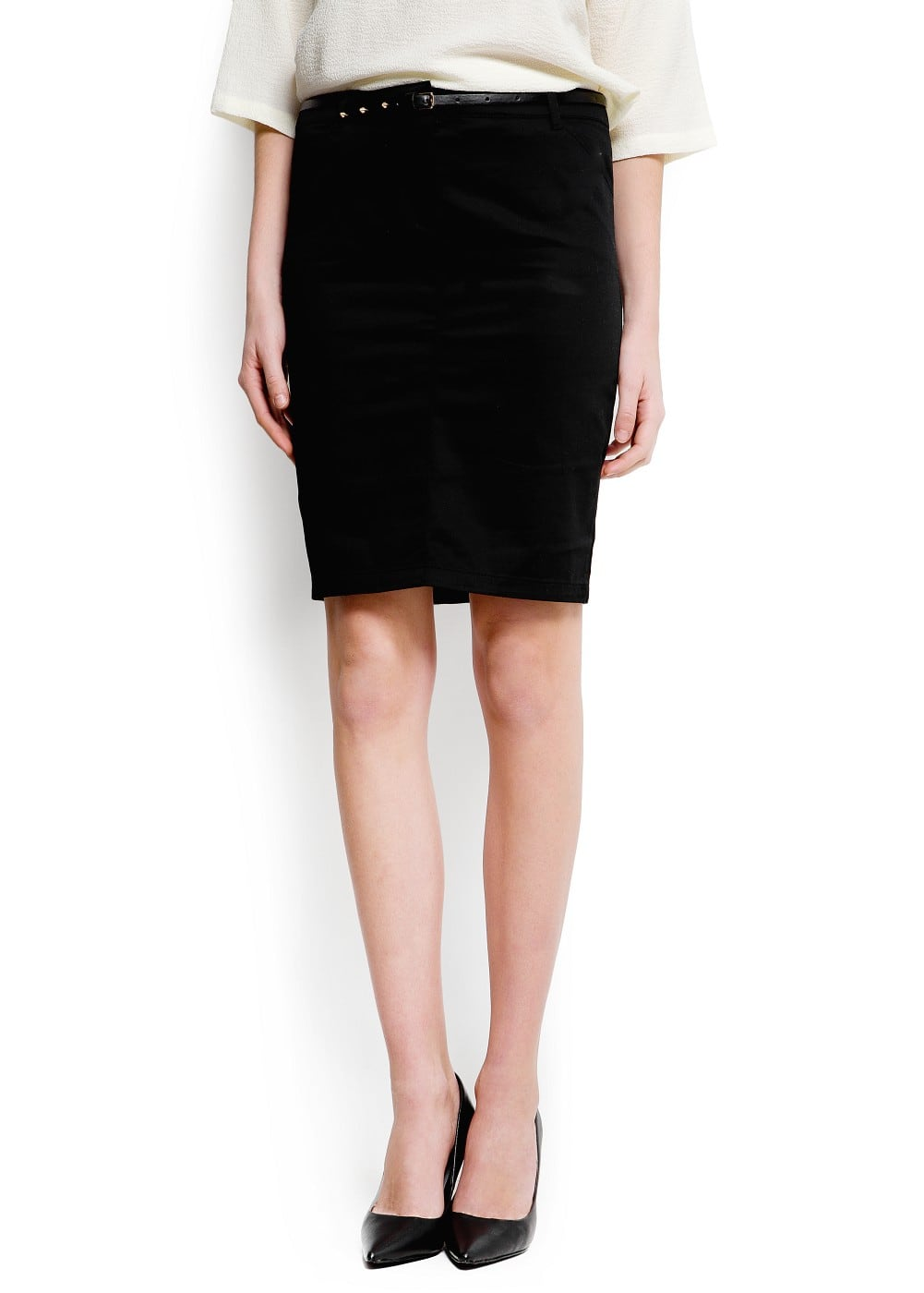 Pencil skirt with belt | MANGO