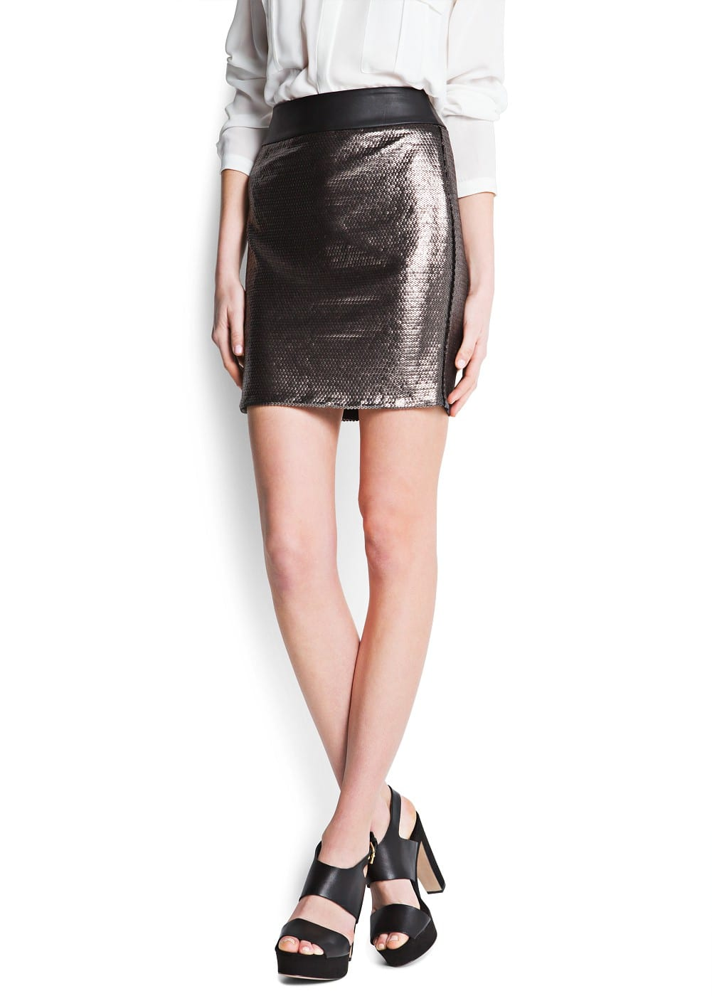 Metallic sequins skirt | MANGO