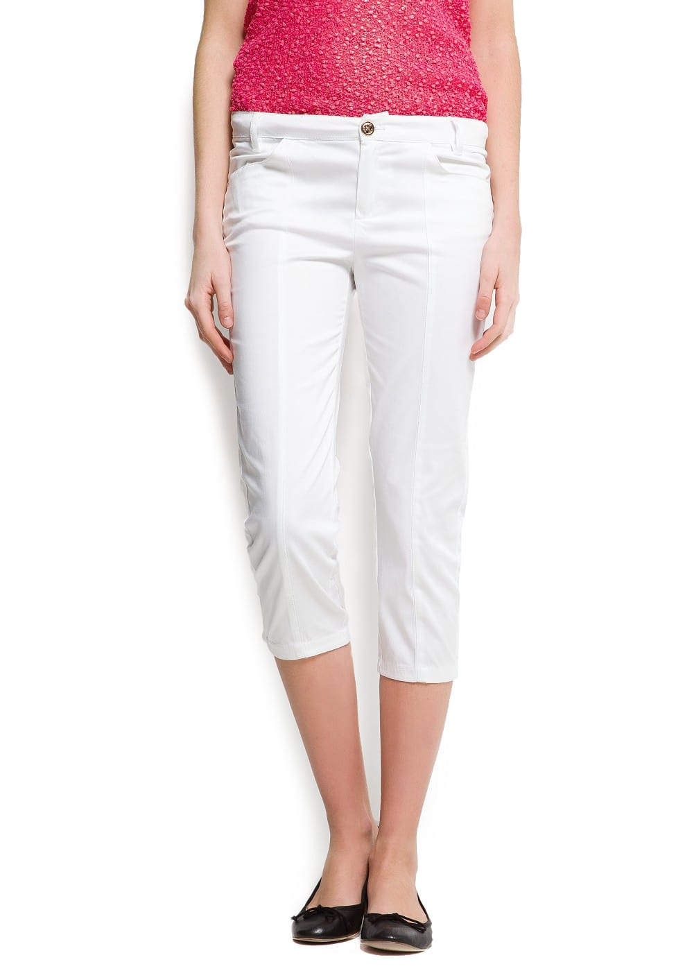 Stitched cropped trousers | MANGO