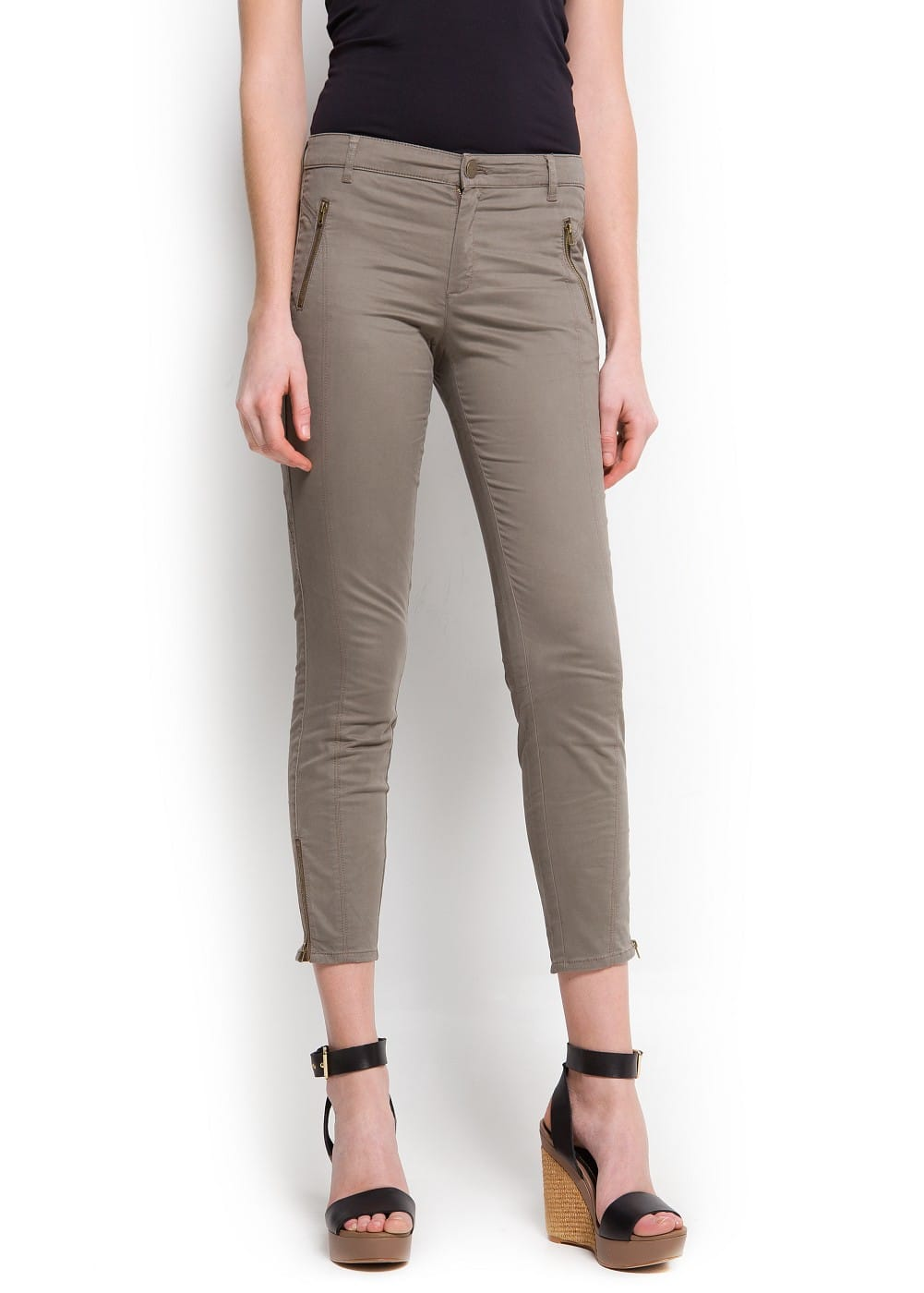 Zippers cropped trousers | MANGO