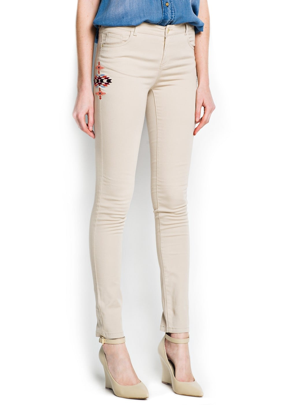 Ethnic embroidery slim-fit trousers | MANGO