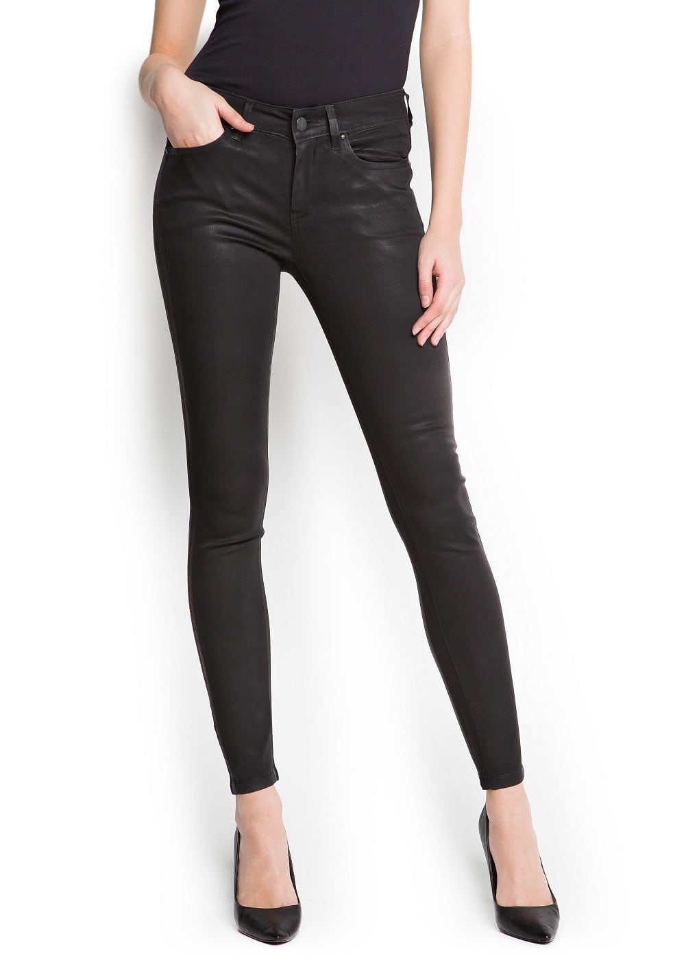 Coated super-slim jeans | MANGO