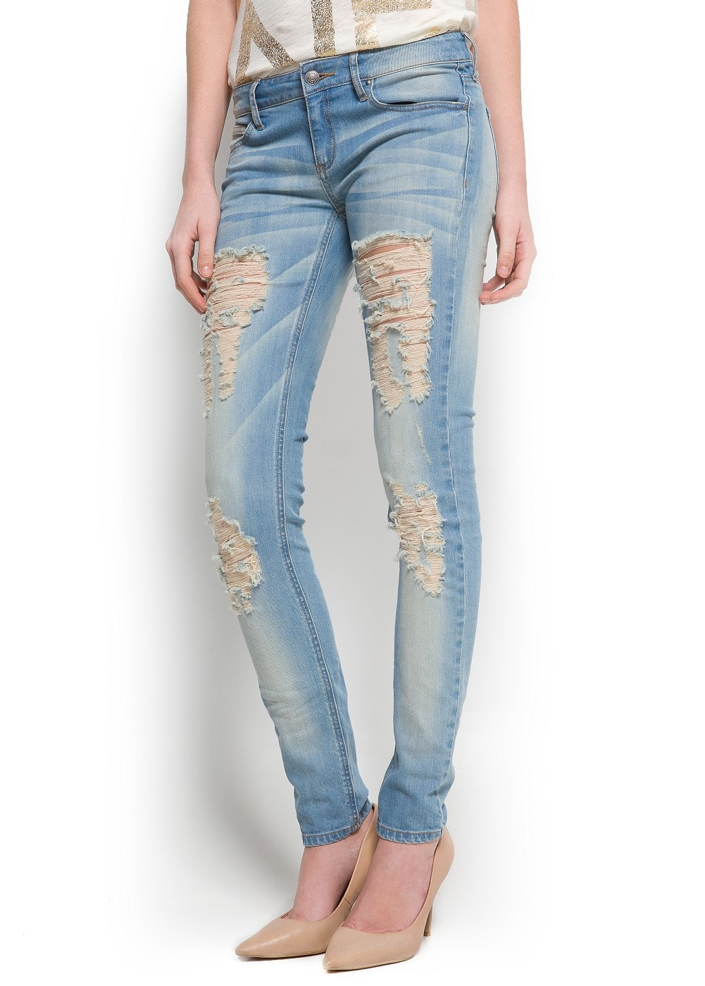 Distressed super slim jeans | MANGO