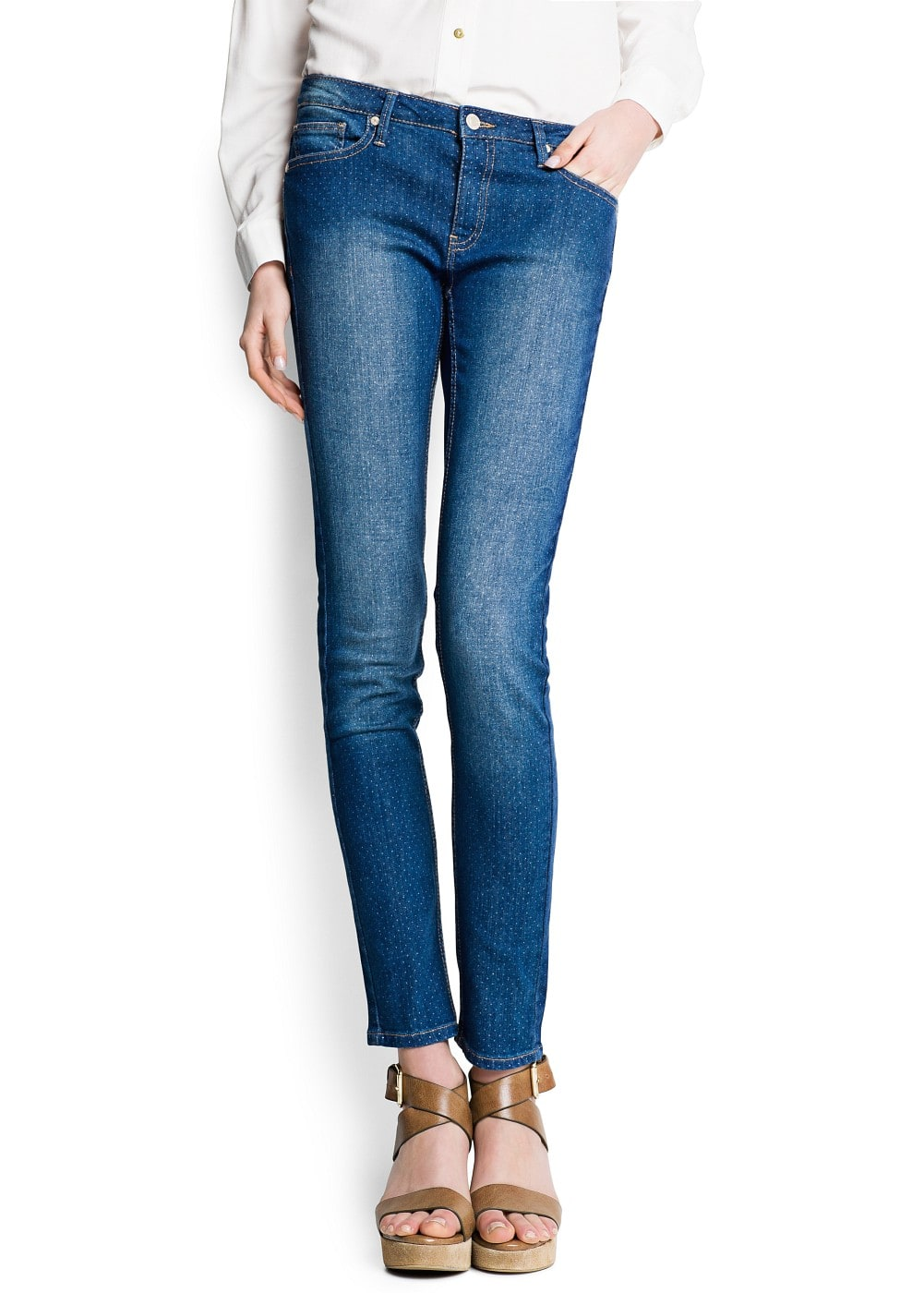 Polka-dot super slim jeans | MANGO