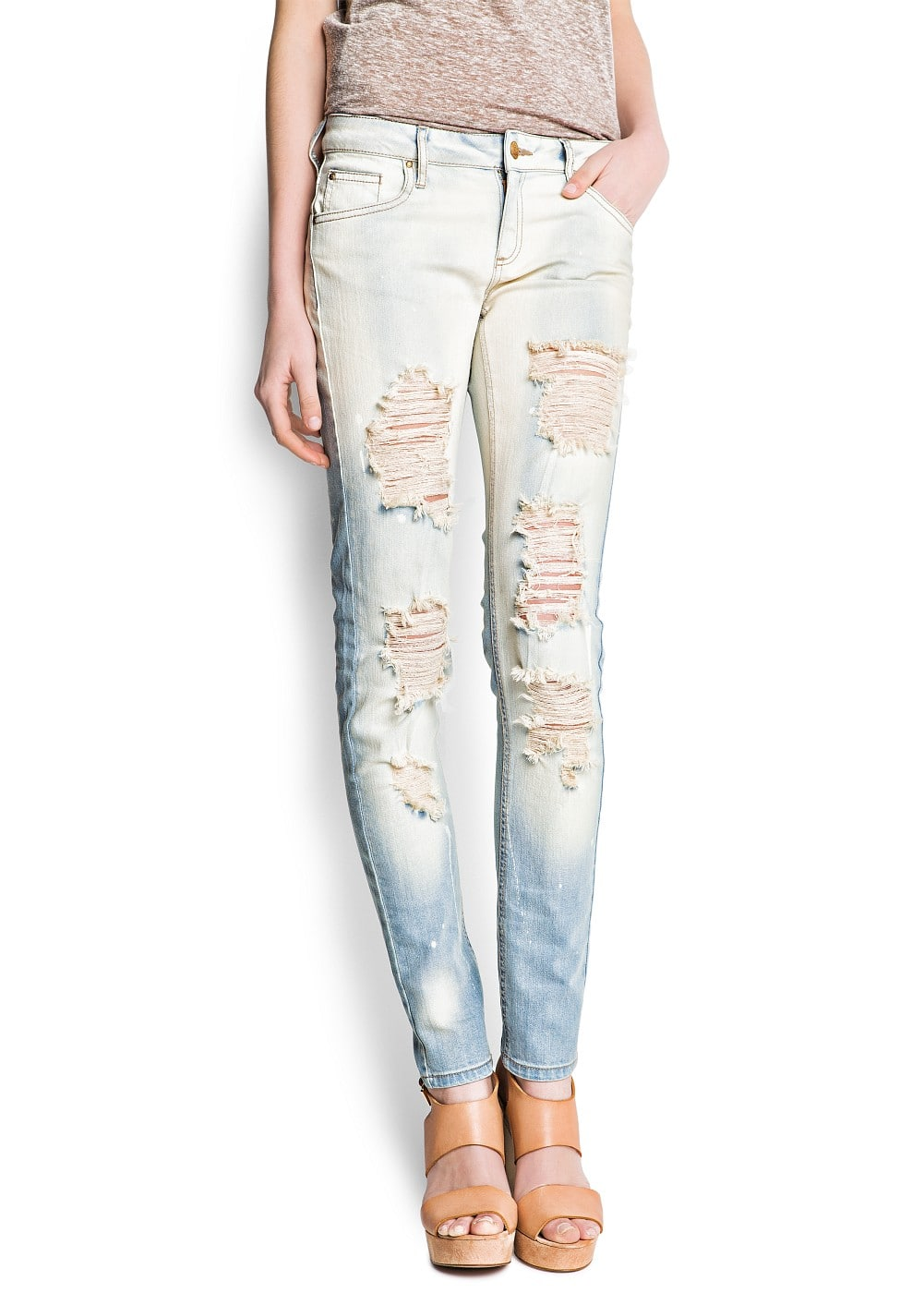 Distressed super slim jeans - Women | MANGO USA