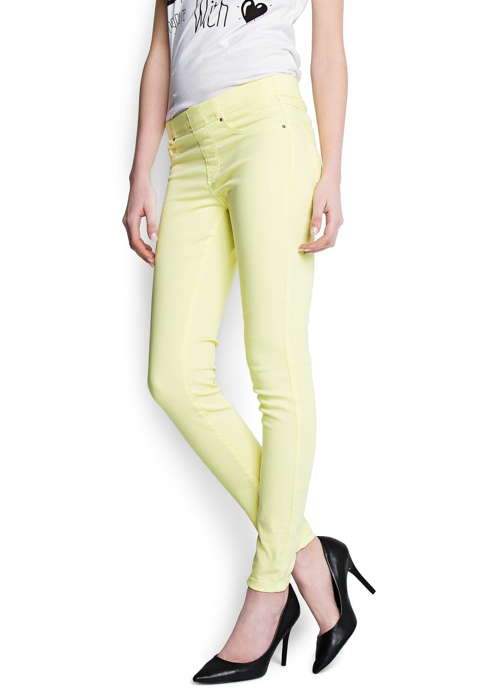 Elastic waist denim jeggings | MANGO