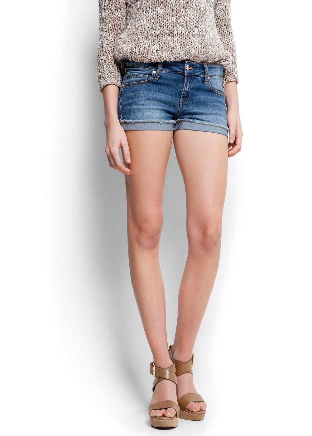 Frayed denim shorts | MANGO