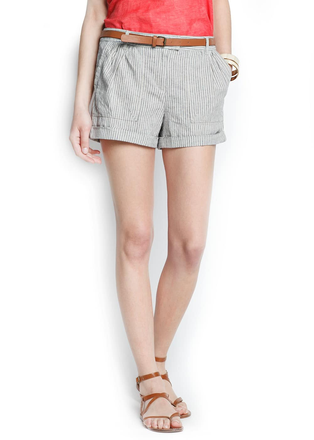 Linen cotton-blend striped shorts | MANGO