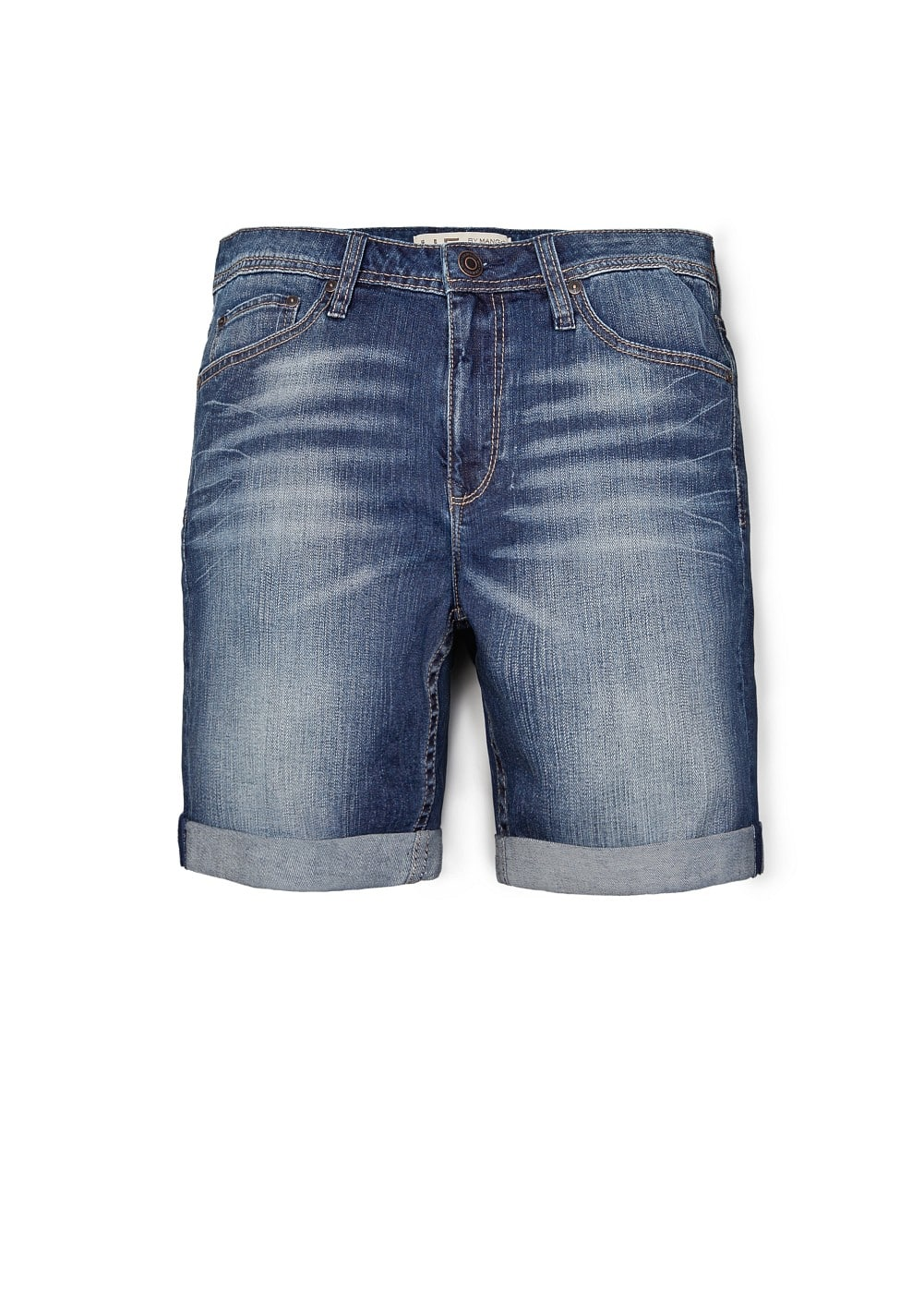 Washed denim bermuda shorts | MANGO MAN