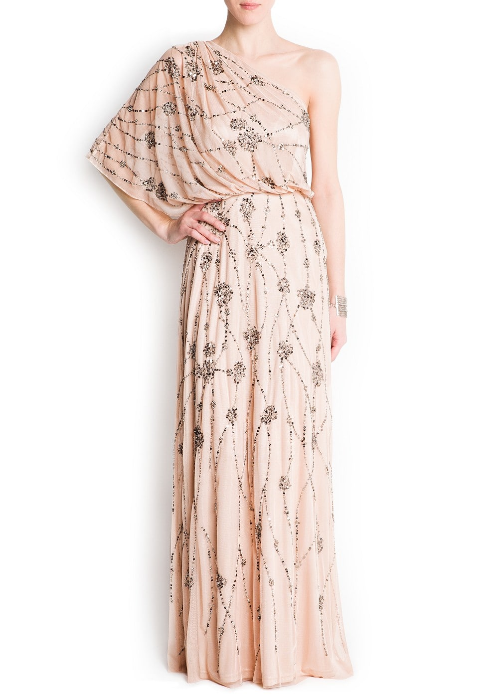 Embroidered tulle gown | MANGO