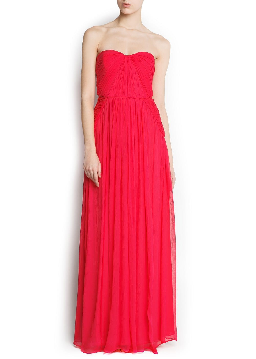 Silk strapless gown | MANGO