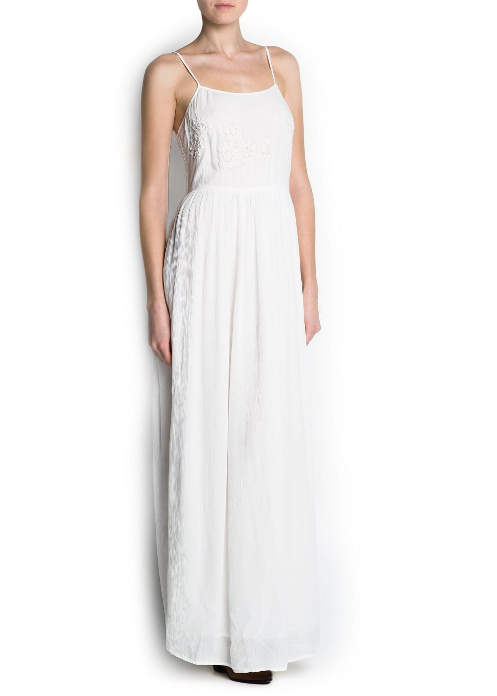 Guipure embroidered long dress | MANGO