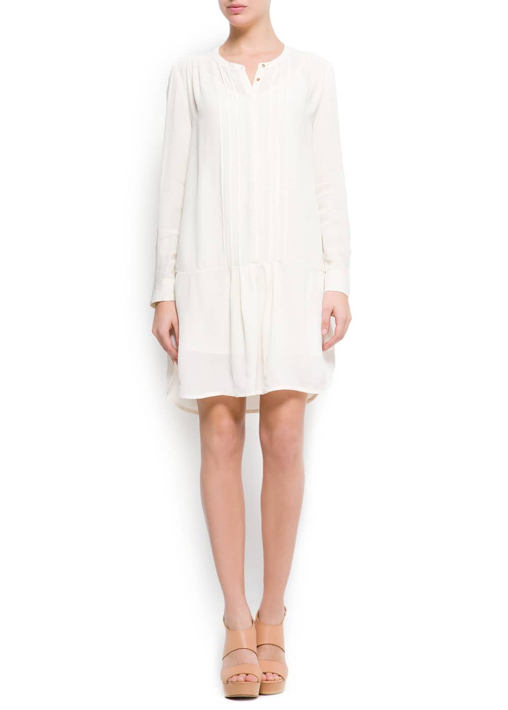 Pin-tuck shirt dress | MANGO