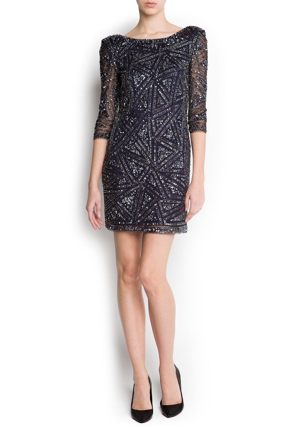 Geometric embroidered dress | MANGO