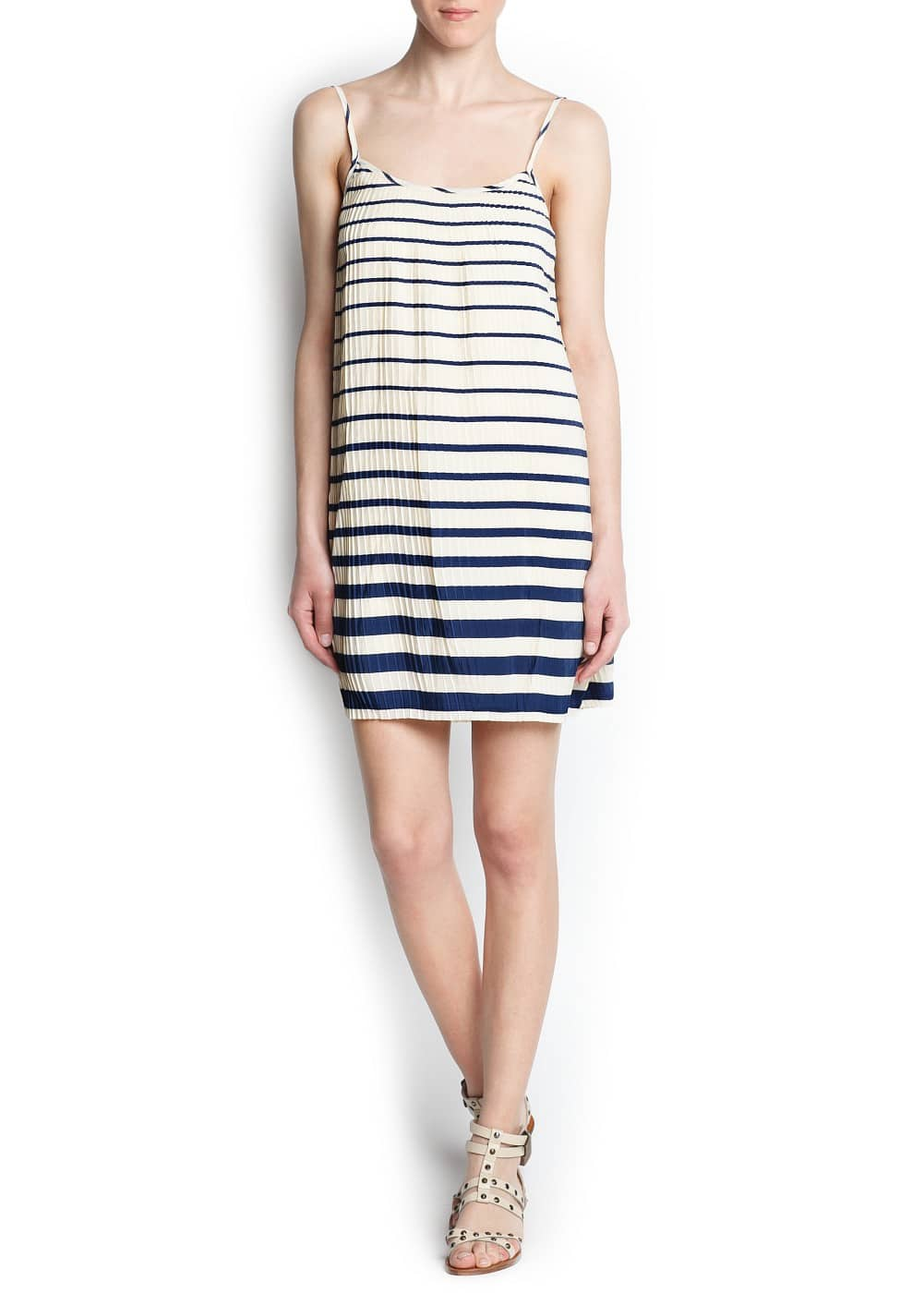 Striped pleated dress | MANGO