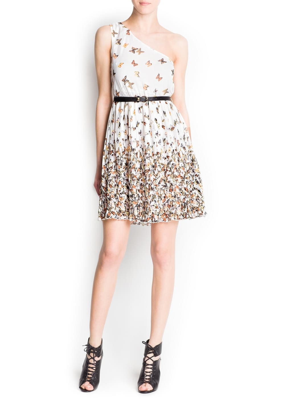 Butterfly print asymmetric dress | MANGO