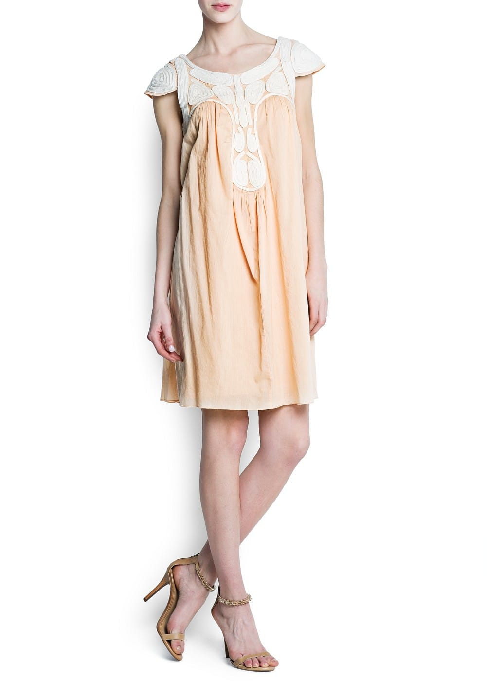 Embroidered cord cotton dress | MANGO