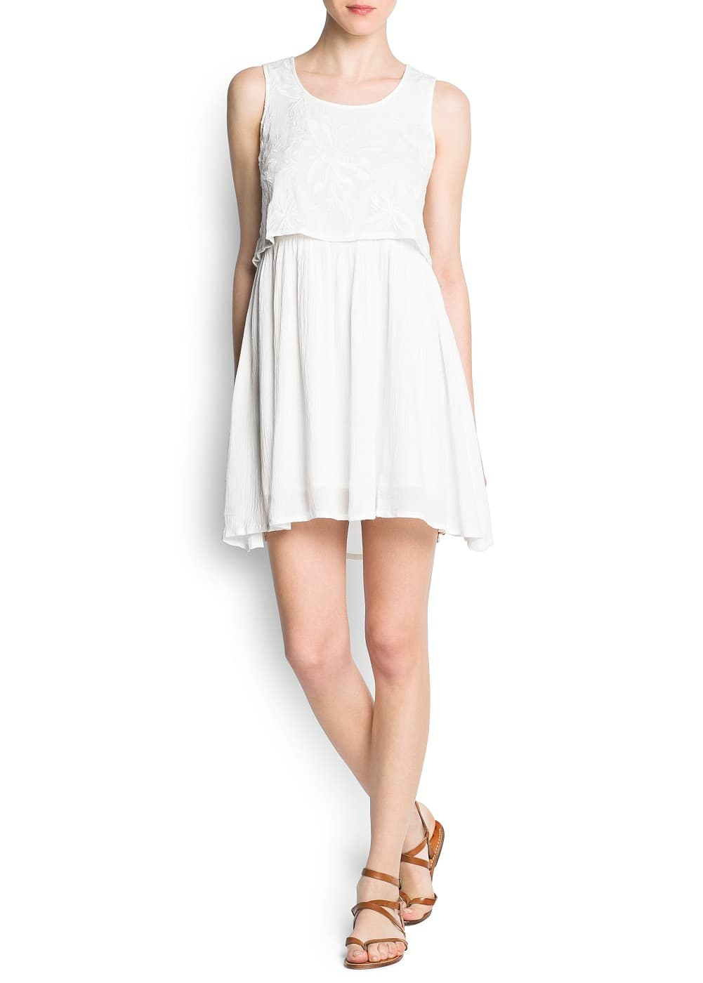 Embroidered pleated cotton dress | MANGO