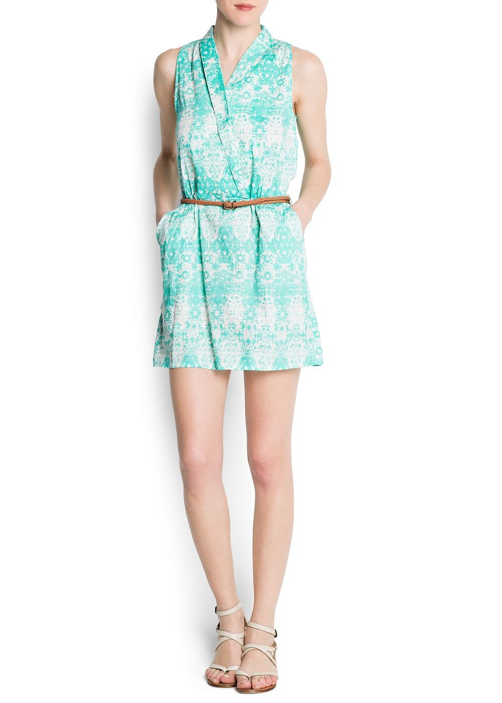 Cotton printed wrapped dress | MANGO