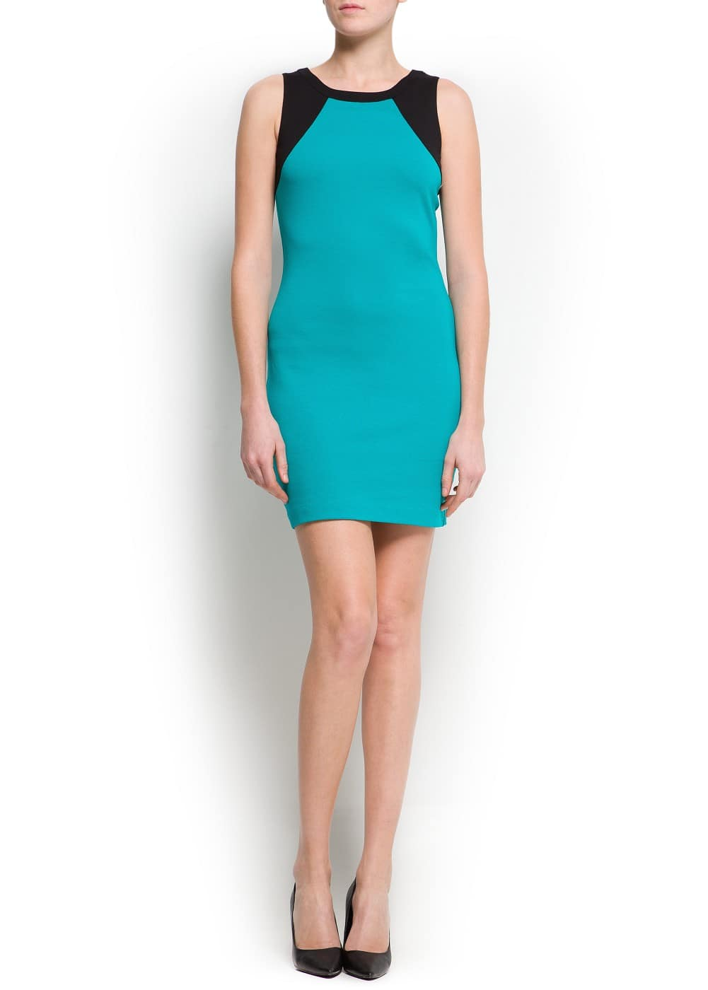 Two-tone stretch-jersey dress | MANGO
